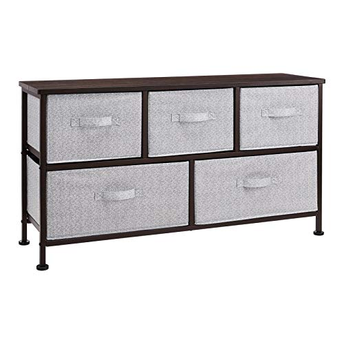 AmazonBasics Extra Wide Fabric 5-Drawer Storage Organizer Unit for Closet, Bronze