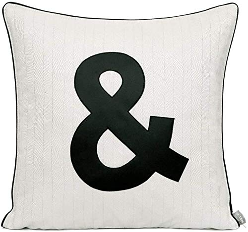 AWAING Fundas de Cojines Algodón almohadas con Insertar Interior Negro Y Carta Modelo blanco fundas de sofá amortiguador del hogar de la decoración del coche del sofá del sofá cama almohadilla de tiro