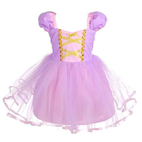 Lito Angels Principessa Rapunzel Vestito per Bambina Costume di Halloween Abito Casual Estivo Taglia 4-5 Anni 109
