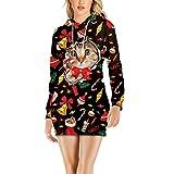 Flysnow Sudadera de manga larga con capucha para mujer, estampado de Navidad, vestido con capucha, con cordón, S-2XL, Negro, XL
