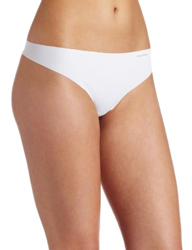 Calvin Klein Women's Invisibles Thong Panty, White, X-Large