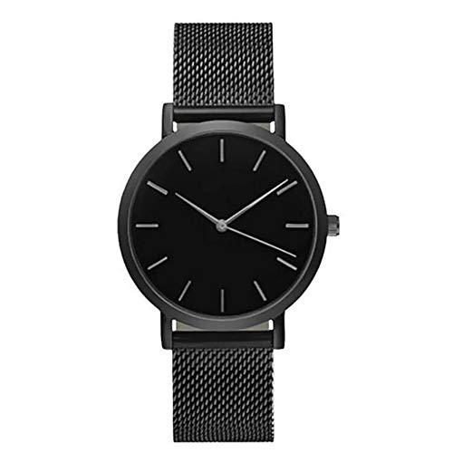 QiKun-Home Net Belt Trend Reloj de Estilo Simple Mármol Oro Plata Cinturón de Malla Reloj de Ocio Reloj de Cuarzo Acero Inoxidable con Reloj analógico Negro