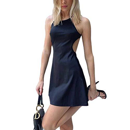 Dazzerake Vestido de mujer con estampado de letras de verano para mujer, vestido de playa sin mangas con escote americano, sexy, mini vestido con tirantes Negro S