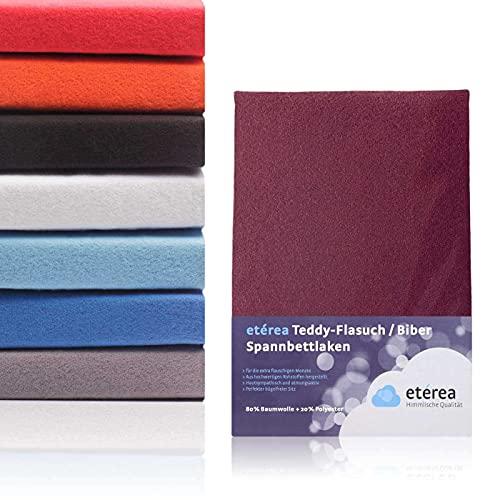 #3 Etérea Teddy Flausch Kinder-Spannbettlaken, Spannbetttuch, Bettlaken, 18 Farben, 60x120 cm - 70x140 cm, Bordeaux