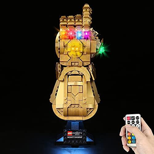 HYCH Fernbedienung LED Licht-Set für Lego Marvel Super Heroes Infinity Handschuh Beleuchtung Lichtset Kompatibel Mit Lego 76191 Infinity Handschuh (Lego-Modell Nicht enthalten) (Mit Fernbedienung)