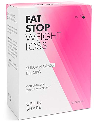 FAT STOP – Capsule blocca-grassi per dimagrire velocemente e perdere peso - Si lega ai grassi del cibo e riduce l assunzione di calorie (chitosano, vitamina C) – di Get In Shape