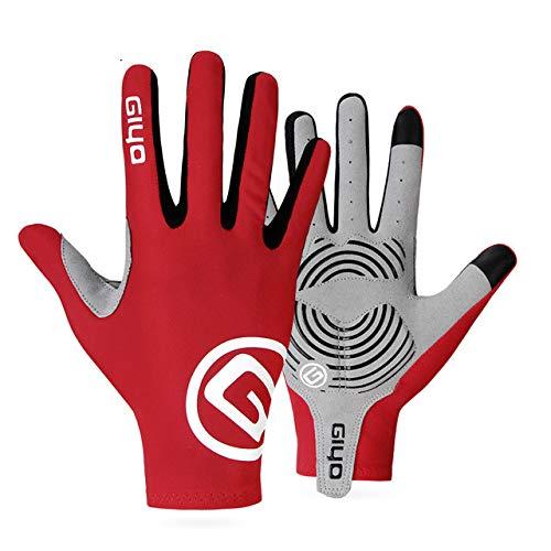 Fahrradhandschuhe Halbfinger Gel Sport Rennrad Handschuhe Damen Herren Sommer Rennrad Handschuhe Mountainbike - Red Full Finger, XL