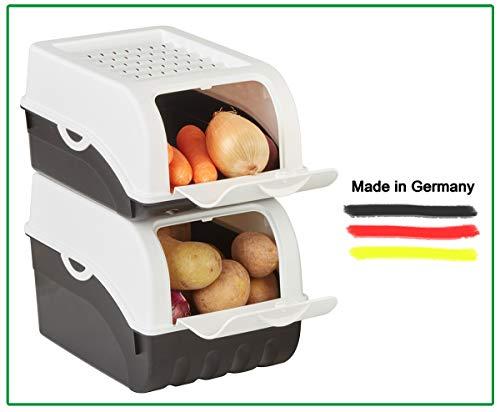 Novaliv Kartoffel Aufbewahrungsbox | klein 3,5L | Weiss | Zwiebelbox | Gemüsebox stapelbar Kartoffelbox Zwiebel Aufbewahrung Kartoffelkorb Obstbehälter Kartoffelkiste Frischhaltedose Möhren