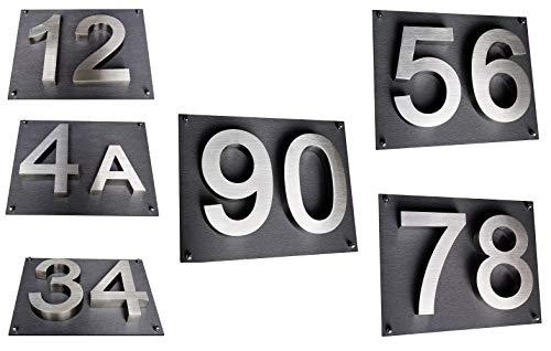 Hausnummer 3D Hausschild Edelstahl V2A 20cm hoch Arial : 0 1 2 3 4 5 6 7 8 9 und 1 x Acryplatte 28cm x 35cm in diamant-anthrazit - mit Zusatzbefestigung