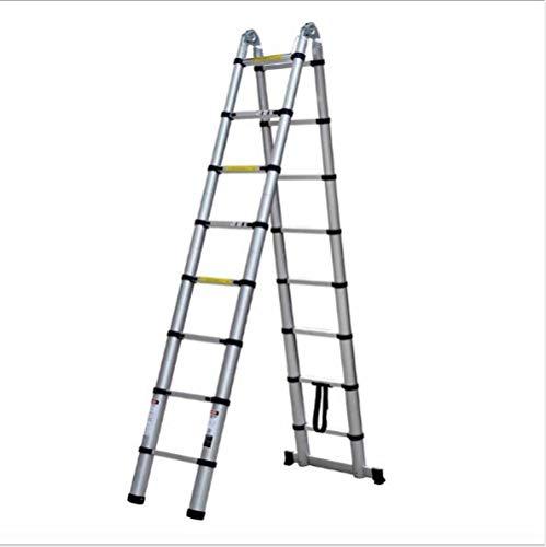 nohbi Escalera Multiusos de Aluminio, Escalera de extensión de aleación de Aluminio, Escalera Plegable doméstica, Escalera multifunción portátil -2.2m + 2.2m,Escalera Plegable Antideslizante