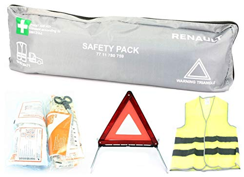 Renault 3in1 Komplett-Set KFZ Notfalltasche - Erste Hilfe - Warndreieck - Warnweste