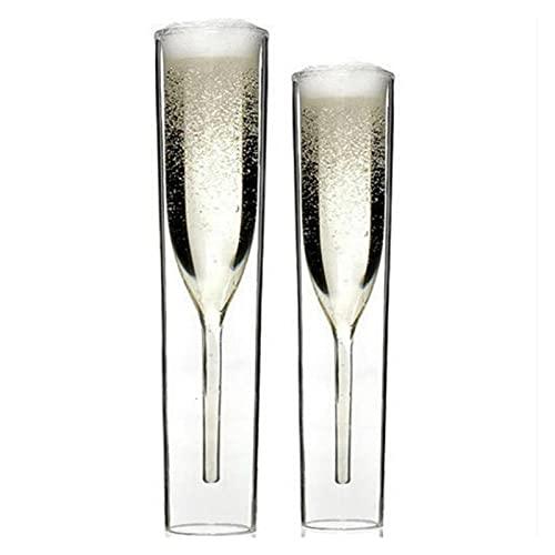 Broccoli21 Helado Scoop Gafas de Doble Pared Champagne Flautas de Cristal Copa Burbuja Vino tulipán cóctel Boda Fiesta Tostado bodum Thule Cuchara (Capacity : 101 200ML, Color : 2PCS)