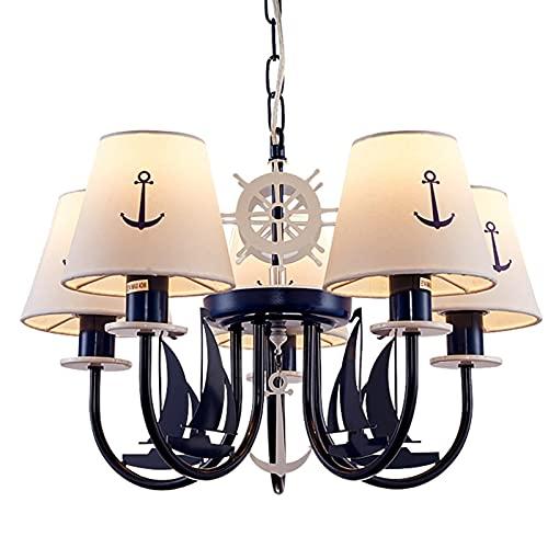 Apparecchio di illuminazione Retro Lampadari 5-Light con cottage Ombra - Bambini Ciondolo in ferro Tema Light Fixtures di trasporto marittimo, creativo lampadari for Camera da letto ( Color : Small )