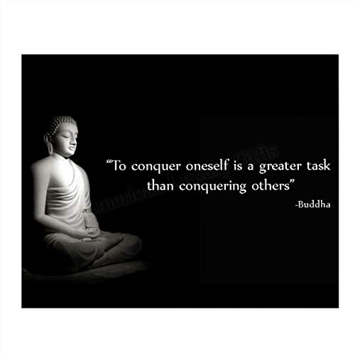 Buddha Quotes Art Print -'To Conquer Oneself is a Greater Task.' 10 x 8' Wall Art Print- Ready to Frame. Modern Home Décor, Studio & Office Décor. Perfect Gift for Buddhism, Zen & Inspiration.