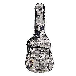 Gitarrentragetasche für 41-Zoll-Gitarre 600D Wasserdichte Gigstasche mit doppelt genähten, gepolsterten Trägern im Zeitungsstil