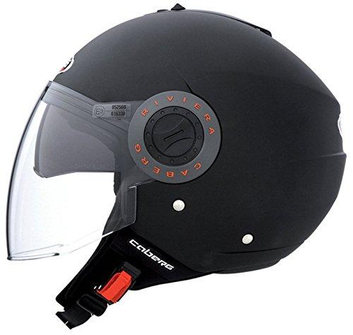 Caberg Riviera V2+ Motorradhelm Motorrad Roller Offenes Jet Helm Matt Schwarz L (59-60cm)