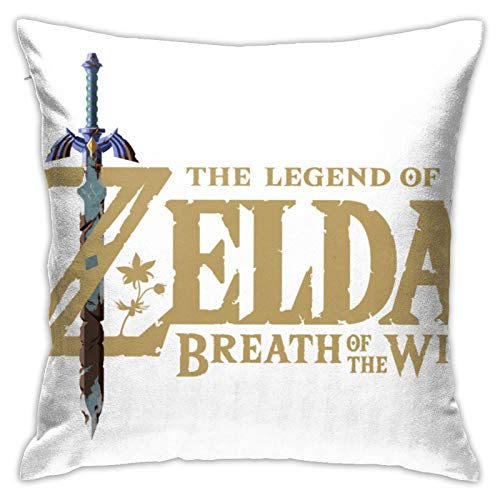 NESTOR VILTAUTAS Legend of Zelda Ocarina of Time Title Cotton Linen Decorative Throw Pillow Covers Square Soft Cushion Covers,18X18 Pillowcase for Sofa Couch Bed Chair Car Home Decor
