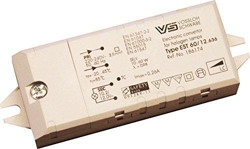 Vossloh VS Trafo 10 bis 60 Watt elektronisch für LED und Halogen 12 Volt Möbeleinbau MM-Zeichen