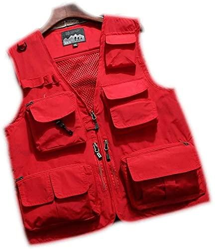 THBEIBEI Angelweste mit großem Fassungsvermögen, schnell trocknend, für Herren, Outdoor, mehrere Taschen, wasserdicht, schnelltrocknend (Farbe: Rot, Größe: 5XL)