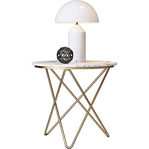 Home&Selected fineer/bank, rond, woonkamer, Scandinavische stijl, salontafel van marmer, hoektafel, balkontafel, vrije tijd, 23,6 x 25,5 inch