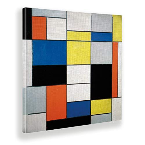 Giallobus - Gemälde - Piet Mondrian - Komposition A mit Schwarz, Rot, Grau, Gelb und Blau - Leinwand - 50x50 - Fertig zum Aufhängen - Moderne Wohnkultur aus Canvas oder Plexi-Acrylglas