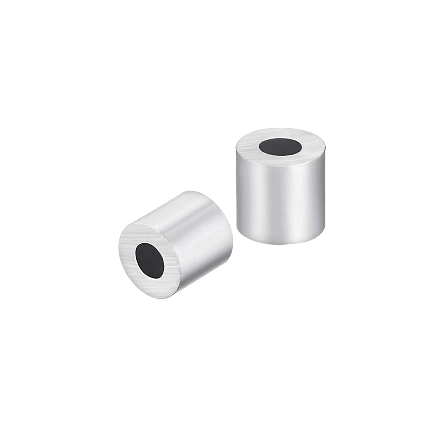 uxcell M2.5 Aluminum Sleeve Single Tube Crimp 2.5mm 3/32 in Steel Wire Rope Button Stop Clips Cable Ferrules 30 Pcs