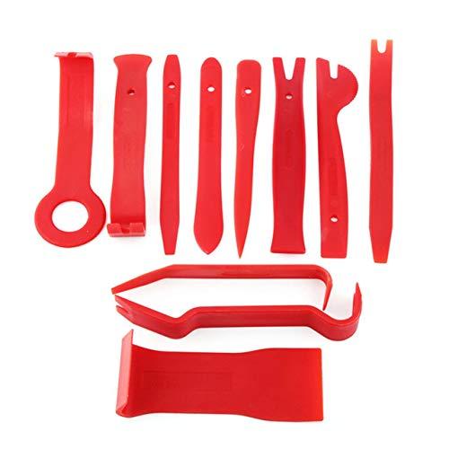 11pcs / set Plastic Pry Tool Trim Dashboard Door Clip Panel Removal Installer Opening Repair Tool para PC Phone Desmontaje Set (Rojo) ESjasnyfall