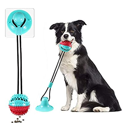 Lzansuii Dog Suction Cup Toy, Food Dispensing Chew Toy with Fixed Suction Cup(with 1*Suction Cup Enhanced Sticker),Interactive Puppy Molar Training Rope,For Dog Cat Dental Care Cleaning Teeth