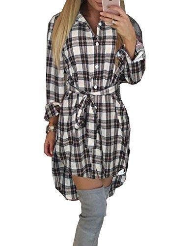 EMMA dames winter herfst blouse jurk geruit patroon asymmetrisch voorzijde kort achter lang T-shirt ruiten tartan young katoen jurk midi lus veters aan de taille