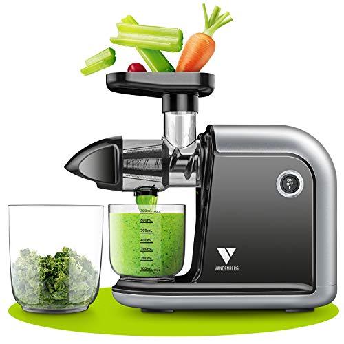 Vandenberg Slow Juicer - Exprimidor silencioso de verduras y frutas [150 W] - Exprimidor eléctrico con función inversa, respetuoso con las vitaminas -Incluye cepillo de limpieza