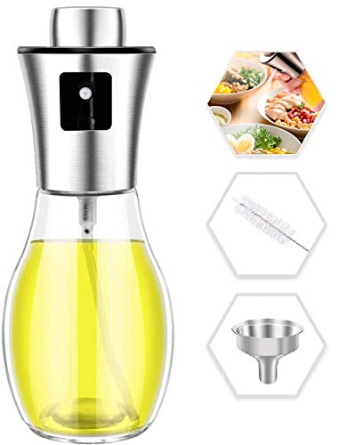 Oil Spray Bottle for Cooking 200ml with Brush and Stainless Steel Funnel Olive Oil Sprayer and Vinegar Dispenser Bottle for BBQ Baking Roasting Frying Oil Control Diet