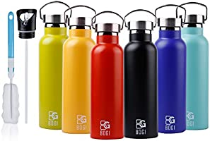 BOGI 20oz Double Wall Vacuum Insulated Stainless Steel Water Bottle-Scratch Resistance&Eco-Friendly for Outdoor Sports...