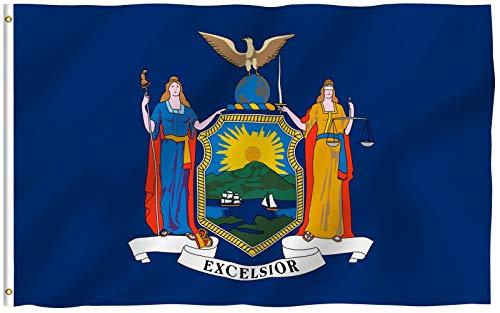 ANLEY Fly Breeze 3x5 Foot (90x150 cm) New York State Flag - Levendige kleuren en UV-vervagend - Canvaskop en dubbel gestikt - New Yorker NY Flags Polyester met messing doorvoertules 3 X 5 Ft