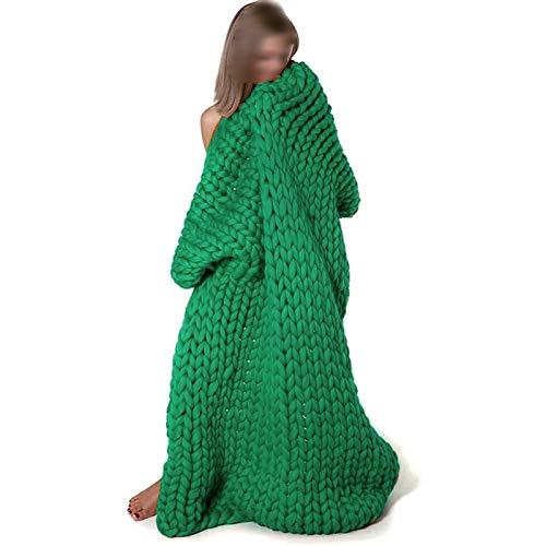 GUOYUN Manta De Punto Gruesa Y Suave Hecha A Mano Cálida Manta De Tiro Suave para Bebé Mascota Foto Mantas Sofá Cama Regalos (Color : Green, Size : 51×67in(130×170cm))