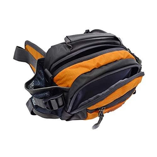 Paquete de cintura al aire libre con soporte de botella de agua Bolsa de viaje multifuncional Nylon Naranja