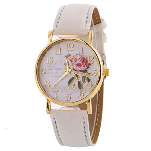 RTUQ Reloj de pulsera de cuarzo para hombre, delgado, minimalista, con correa de esfera, de cuarzo, de piel, blanco,