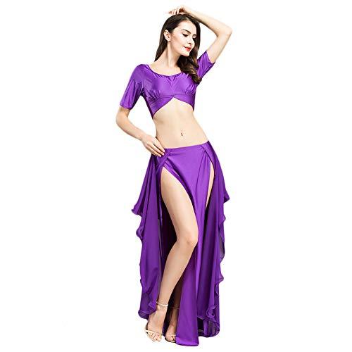 ROYAL SMEELA Conjunto de Danza del Vientre Tops Faldas para Mujeres Traje de Traje de Danza del Vientre Trajes de Rendimiento de Danza Sexy de Moda Tops y Faldas de Hendidura