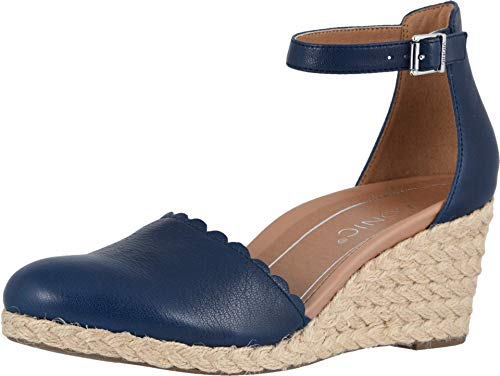 Vionic Women's Aruba Anna Wedges - Espadrille Sandals with Concealed Orthotic Arch Support Navy 6.5 M US