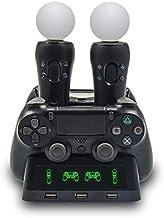 TwiHill O carregador quatro em um é adequado para PS4 / MOVE / controlador PS4 VR, estação de carregamento multifuncional