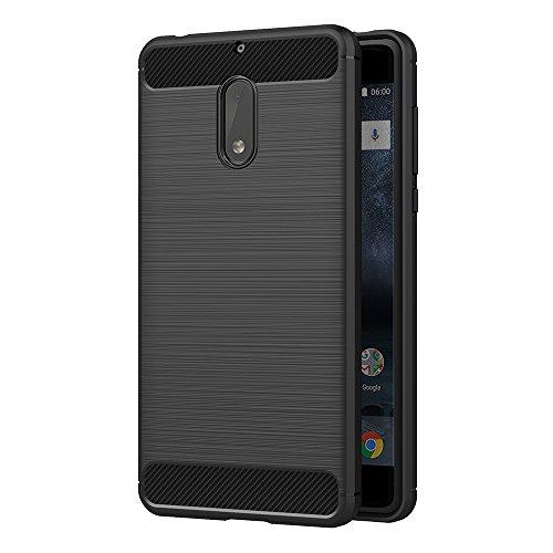 AICEK Nokia 6 Hülle, Schwarz Silikon Handyhülle für Nokia 6 Schutzhülle Karbon Optik Soft Hülle (5,5 Zoll)