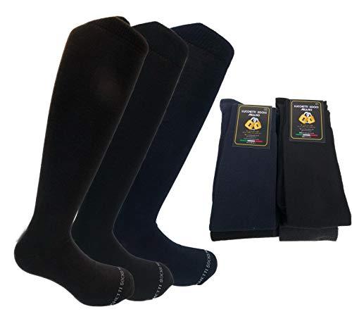 Lucchetti Socks Milano 6 PAIA di calze calzini UOMO LUNGHE caldo cotone ELASTICIZZATE,100% Made in Italy (43-46 NERO)