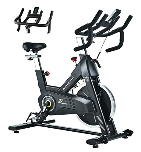 PYHIGH Indoor Cycling Bike Stationary Bicycle Exercise Bike, LCD Monitor with iPad Holder, Comfortable Seat Cushion, Multi - grips Handlebar for Home Workout
