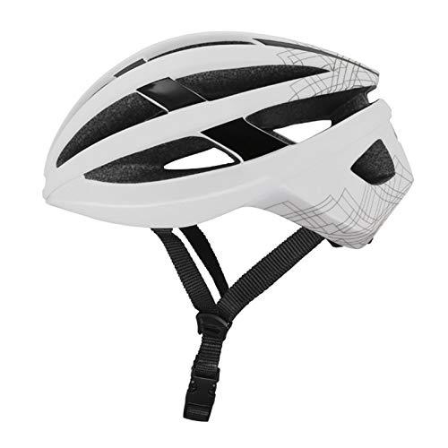 Casco Bicicleta Yuan Ou Casco de Ciclismo con luz Trasera Deportes Ultraligero Casco de Bicicleta de Carretera de montaña Casco de Bicicleta MTB al Aire Libre Unisex 54-61CM Blanco