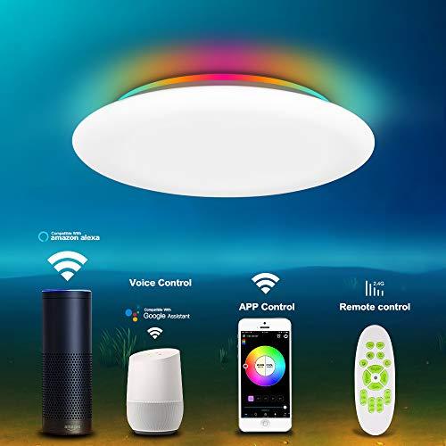 Deckenleuchte LED Dimmbar mit Fernbedienung RGB Farbwechsler Kompatibel mit Alexa Google Home 36W Ø30CM Deckenlampe Warmweiss- Kaltweiss 3000K-6500K/2.4Gwifi/3000lm/OFFDARKS