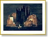 アーノルド・ベックリン *死の島, 1880【ポスター+フレーム】約 81 x 61 cm ゴールド(ヘアライン)