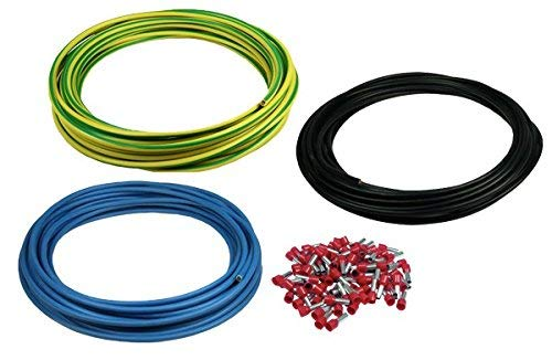 Preisvergleich Produktbild Verdrahtungsleitung H07V-K 10 mm² Set 3 x 5 Meter plus 100 Aderendhülsen Grüngelb,  Blau und Schwarz