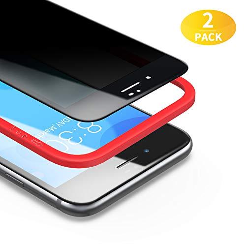 BANNIO für Panzerglas Sichtschutz für iPhone 7/iPhone 8/iPhone SE 2020,2 Stück 3D Full Screen Privacy Panzerglasfolie Schutzfolie,Glas Blickschutzfolie Anti-Spy Folie Displayschutzfolie,Schwarz