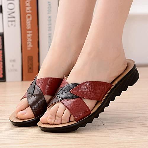 Kirin-1 Chanclas Mujer Piscina,Zapatillas De Estar por Casa De Mujer,Sandalias De Cuero para Mujer, Zapatillas CóModas Damas Antideslizantes, Pendiente Baja con Zapatos De Verano-34_Rojo MarróN