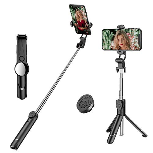 LATEC Bastone Selfie Bluetooth, Estensibile Selfie Stick con Bluetooth Remote Shutter 2 in 1 Selfie Treppiede per iPhone 8 Plus / iPhone7, Samsung,Huawei,Xiaomi Android iOS 3.5-6 Pollici Smartphone
