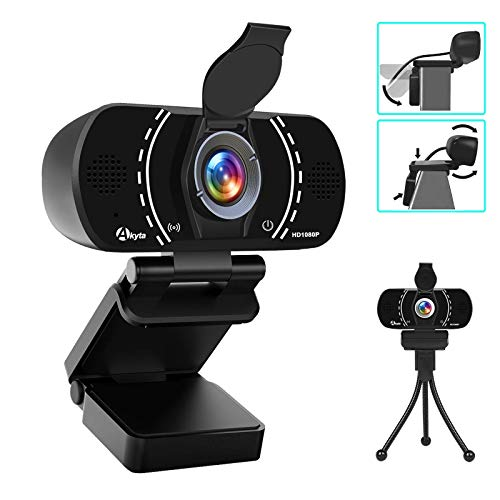 Akyta Webcam with Microphone, HD Webcam 1080P Stream Web Camera for Computers MAC Laptop PC Video Conference/Calling/Recording, 110 Degree Wide Angle USB Webcam with Privacy Cover and Tripod